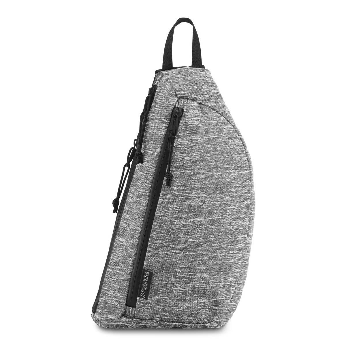 JanSport City Sling Crossbody Bag in Black Woven Knit