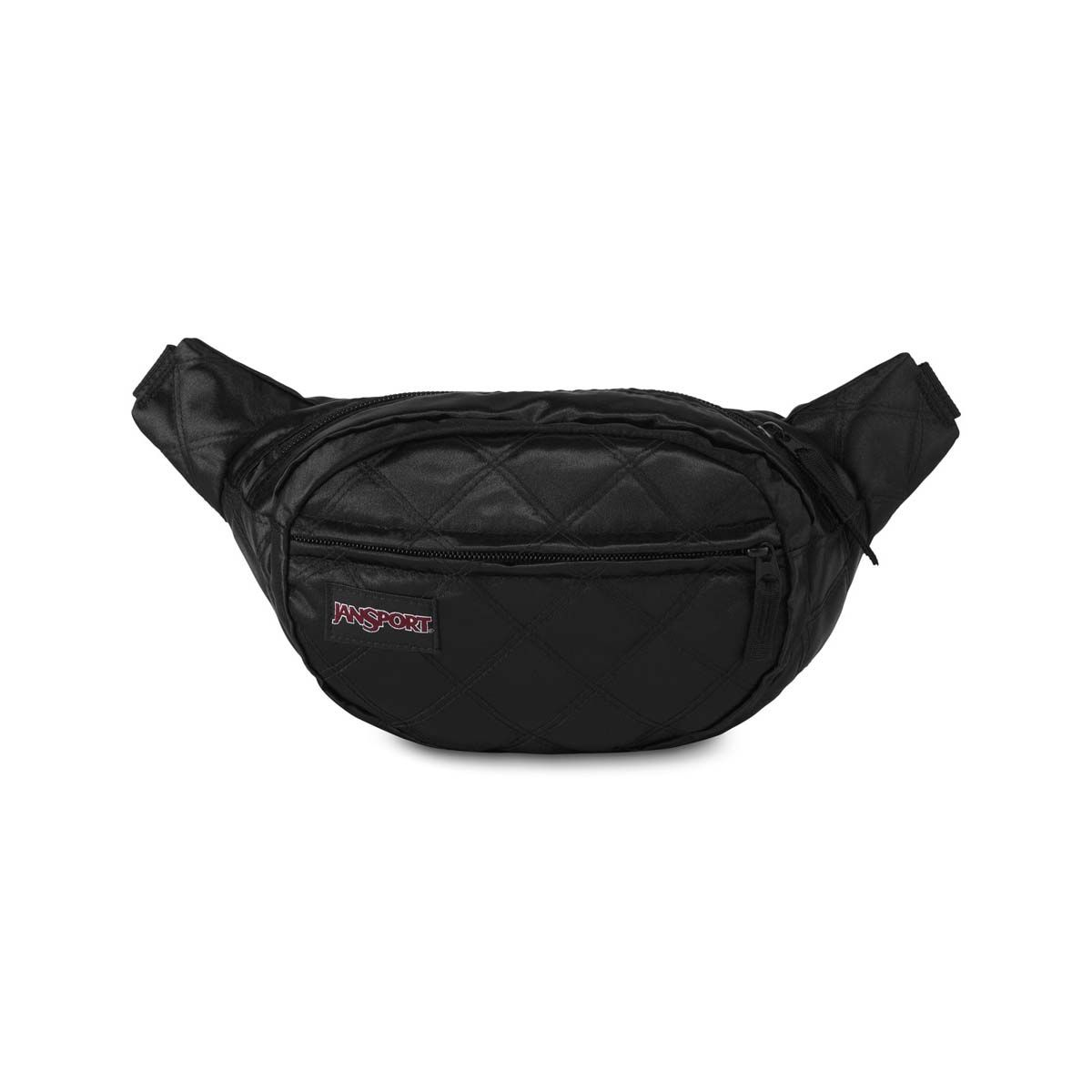 JanSport Fifth Ave FX Fanny Pack in Black Satin Diamond Quilting