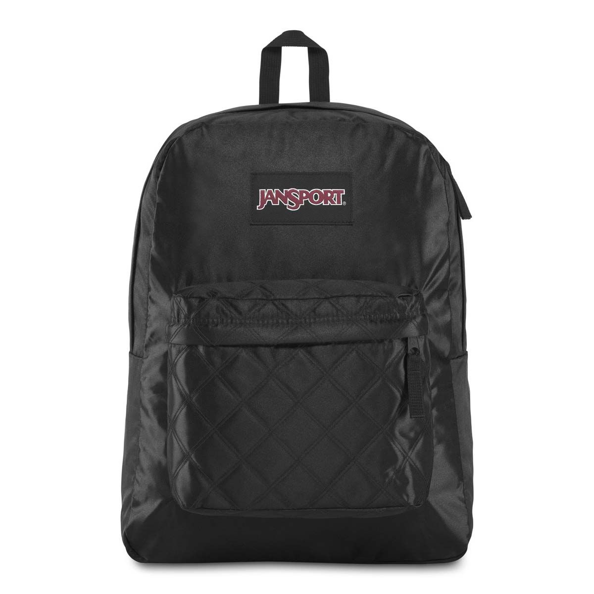 JanSport Super FX Backpack in Black Satin Diamond Quilting