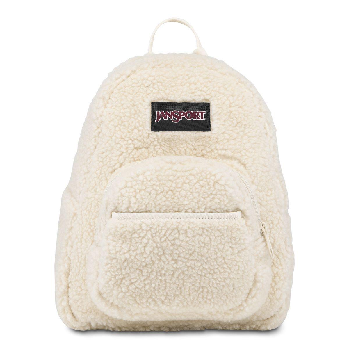 JanSport Half Pint FX Mini Backpack in Soft Tan Sherpa