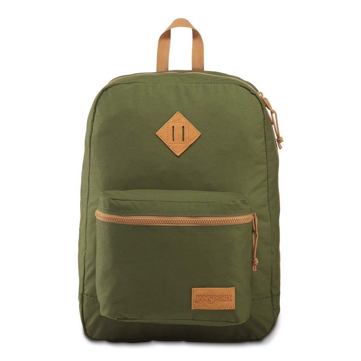 JanSport Super Lite Backpack in New Olive Green/Dijon Brown