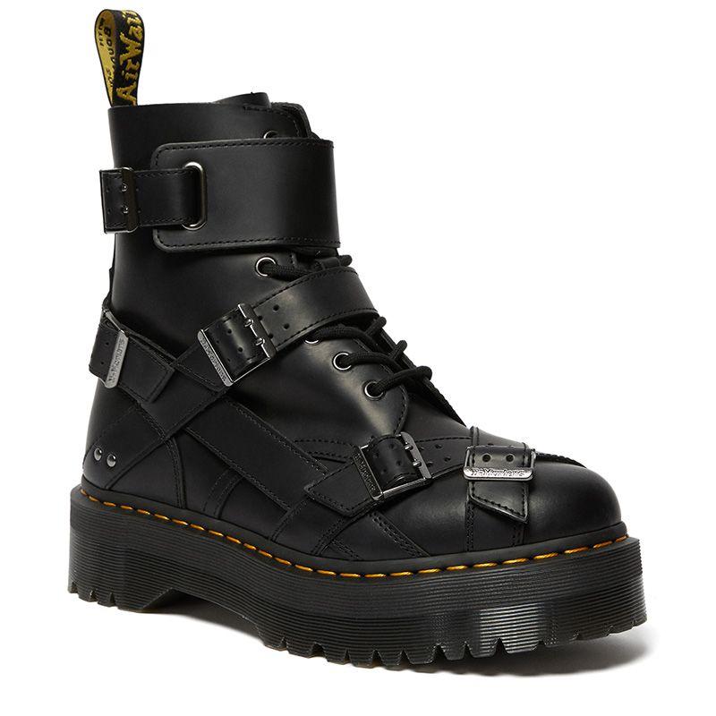 Dr. Martens Jadon Strap Platform Leather Boots in Black