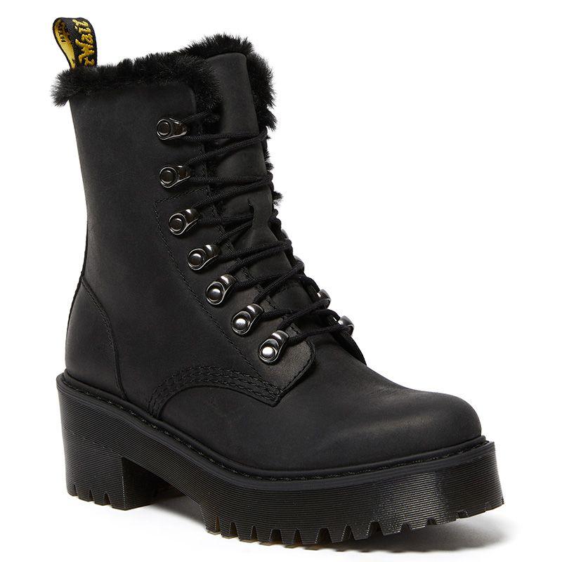 Dr. Martens Leona Faux Fur Platform Leather Boots in Black