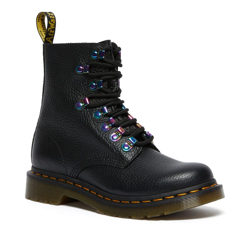 Dr. Martens 1460 Pascal Iridescent Hardware Lace Up Boots in Black