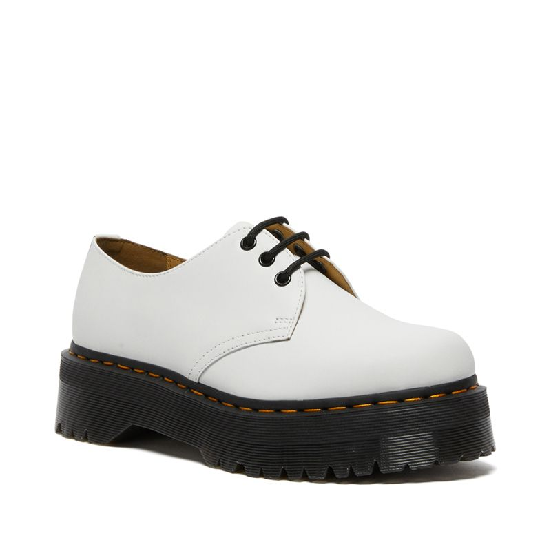 Dr. Martens 1461 Smooth Leather Platform Shoes in White