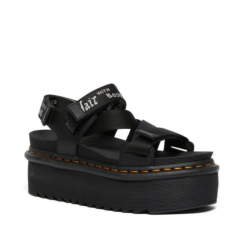 Dr. Martens Kimber Logo Webbing Strap Sandals in Black