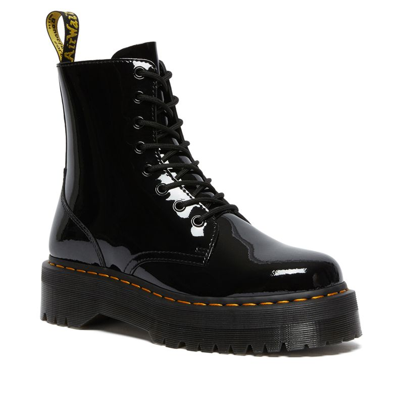 Dr. Martens Jadon Patent Leather Platform Boots in Black