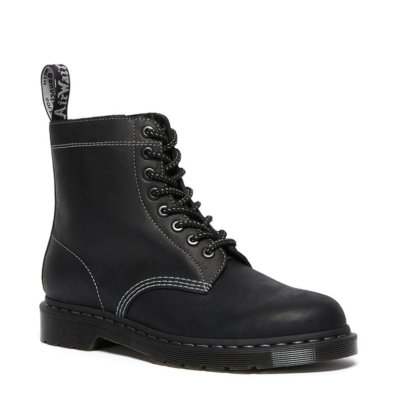 Dr. Martens 1460 Pascal Zip Leather Lace Up Boots in Black
