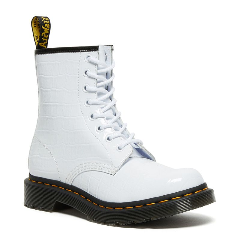 Dr. Martens 1460 Women's Patent Croc Emboss Leather Boots in White