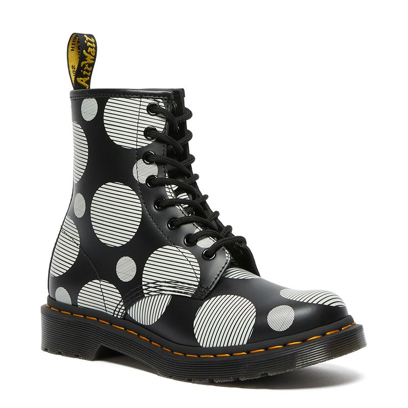 Dr. Martens 1460 Women's Polka Dot Smooth Leather Lace Up Boots in Black/White