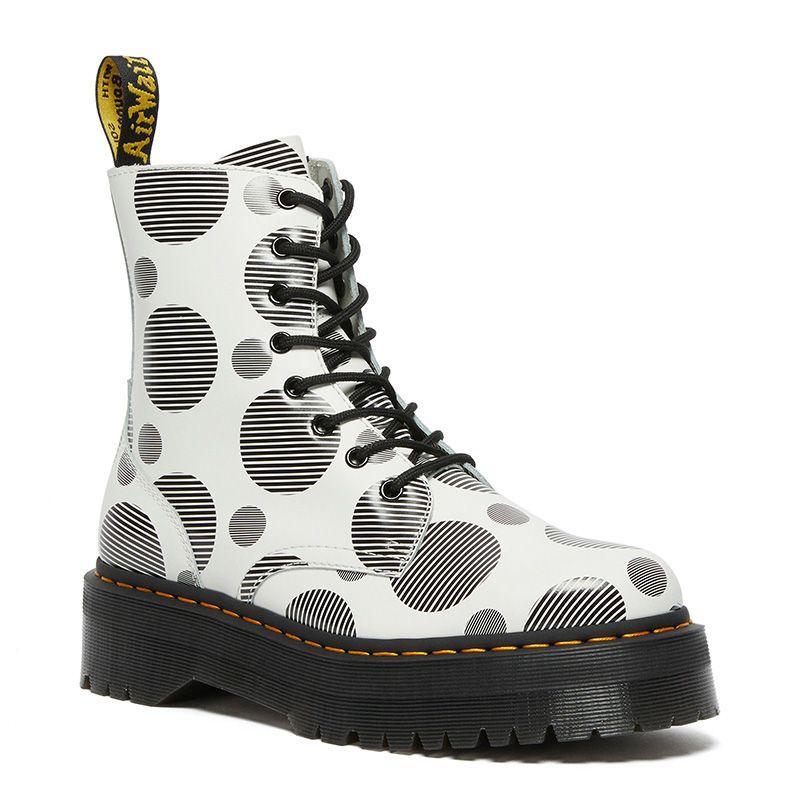 Dr. Martens Jadon Polka Dot Smooth Leather Platform Boots in White/Black