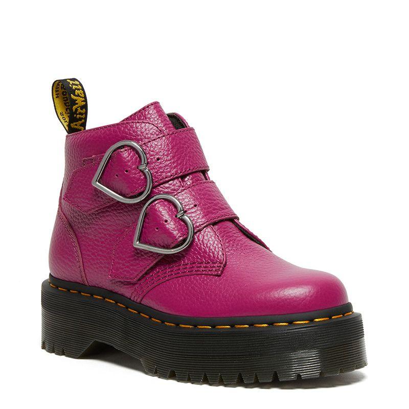 Dr. Martens Devon Heart Leather Platform Boots in Fuchsia