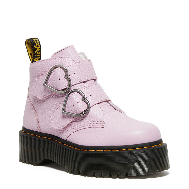 Dr. Martens Devon Heart Leather Platform Boots in Pink Lavender