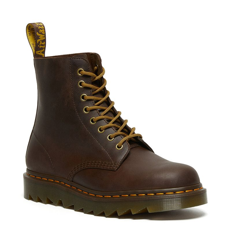 Dr. Martens 1460 Pascal Ziggy Leather Boots in Dark Brown