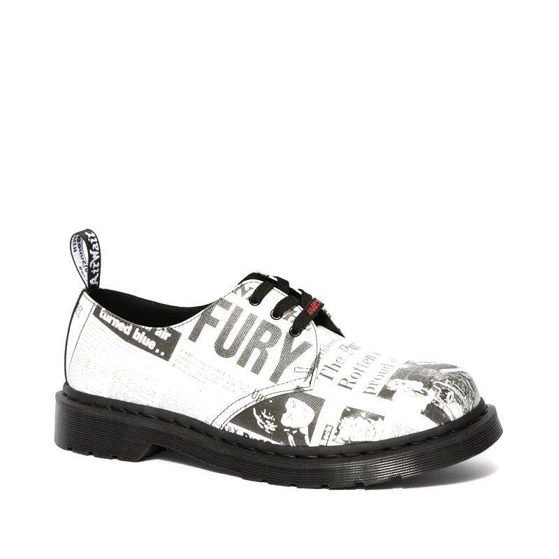Dr. Martens 1461 chaussures richelieu imprimé Sex Pistol en cuir blanc