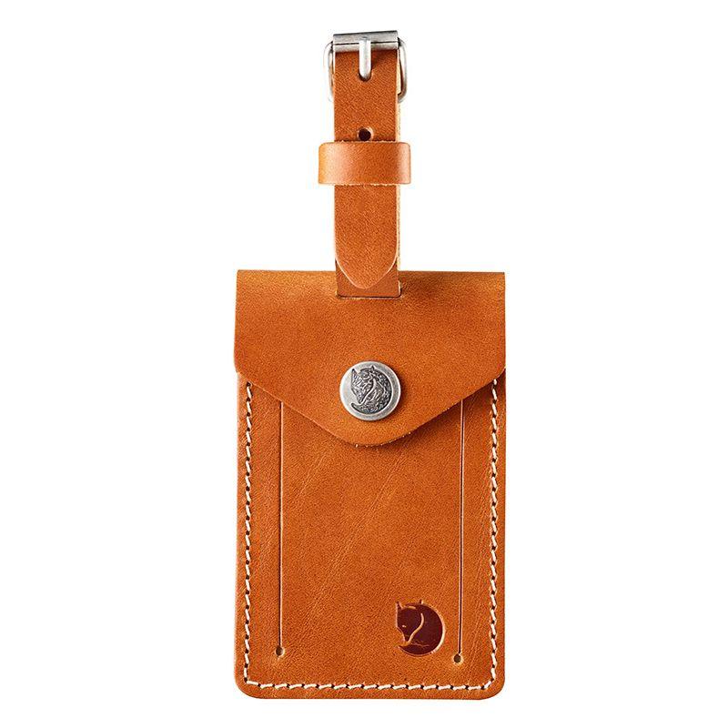 Fjällräven Leather Luggage Tag in Leather Cognac