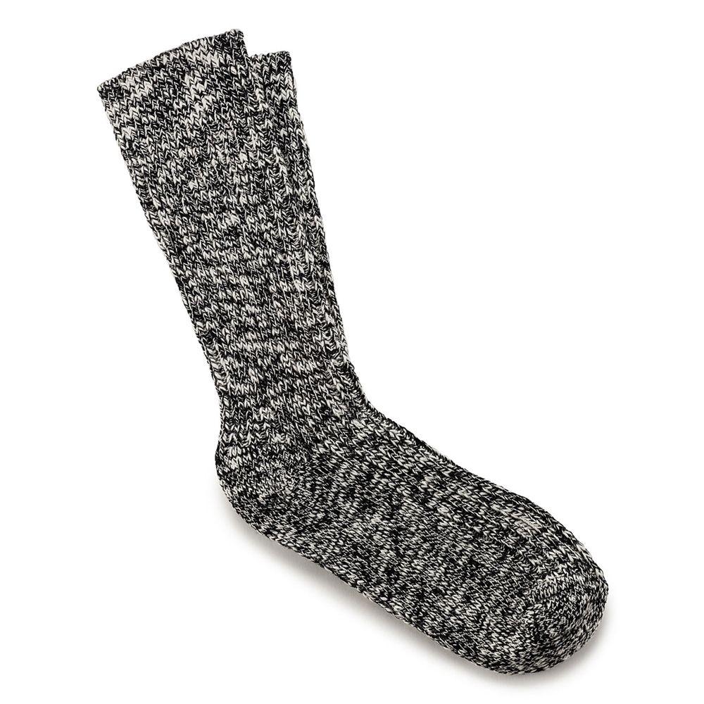 Cotton Slub Women's Socks in Black Gray