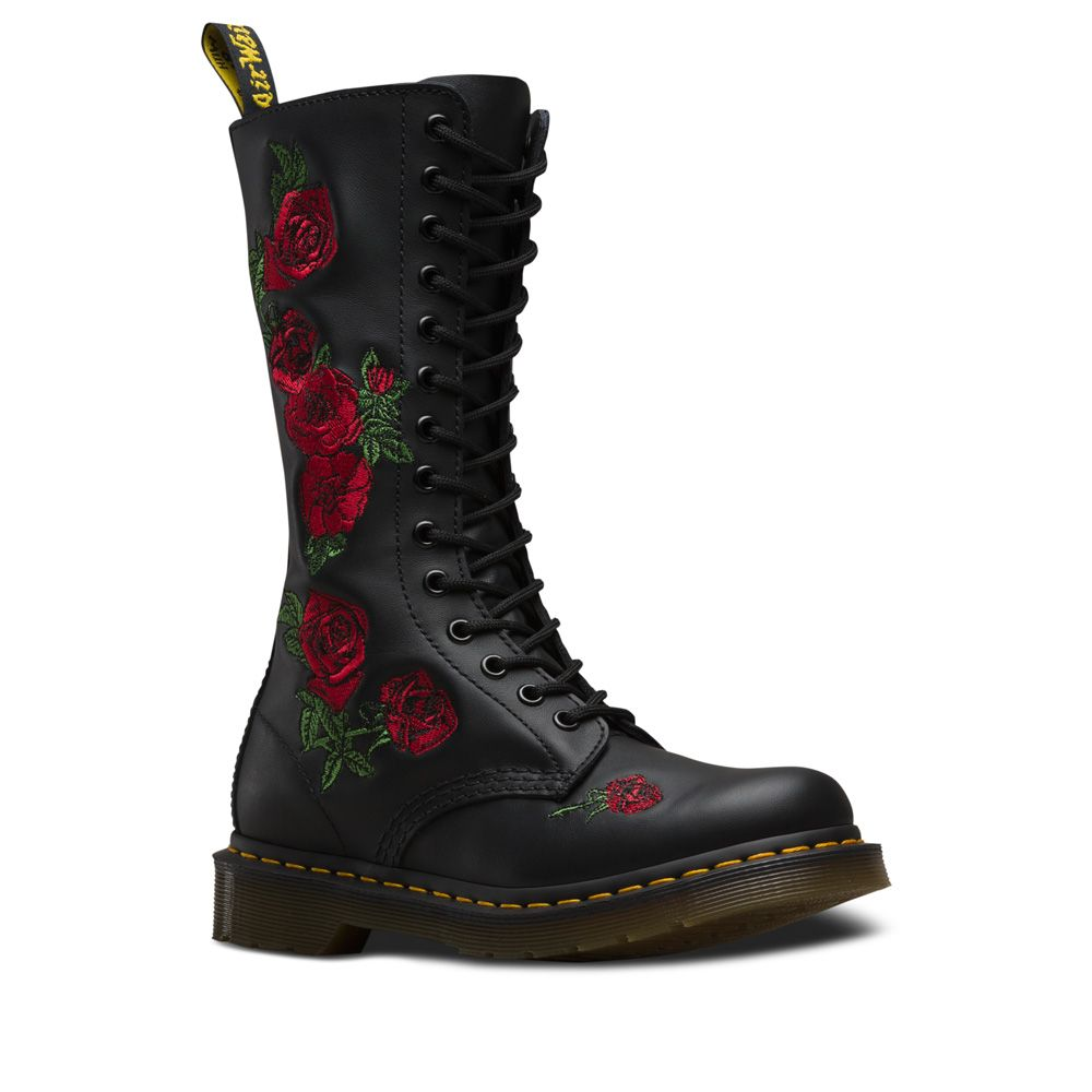 Dr. Martens 1490 Vonda Leather Mid Calf Boots in Black Softy T