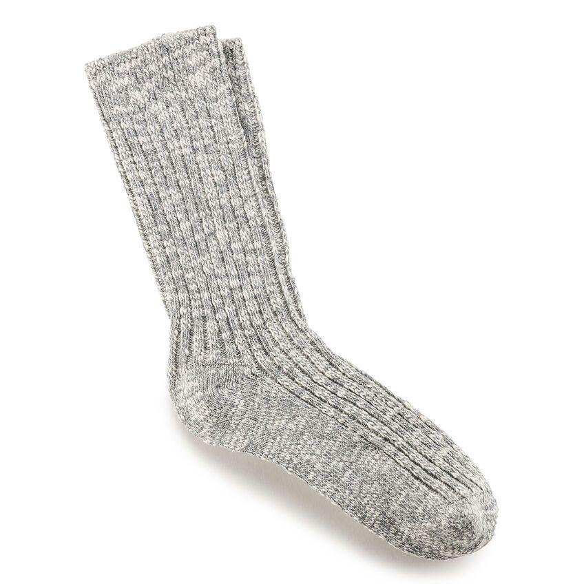Cotton Slub Men's Socks in Gray White