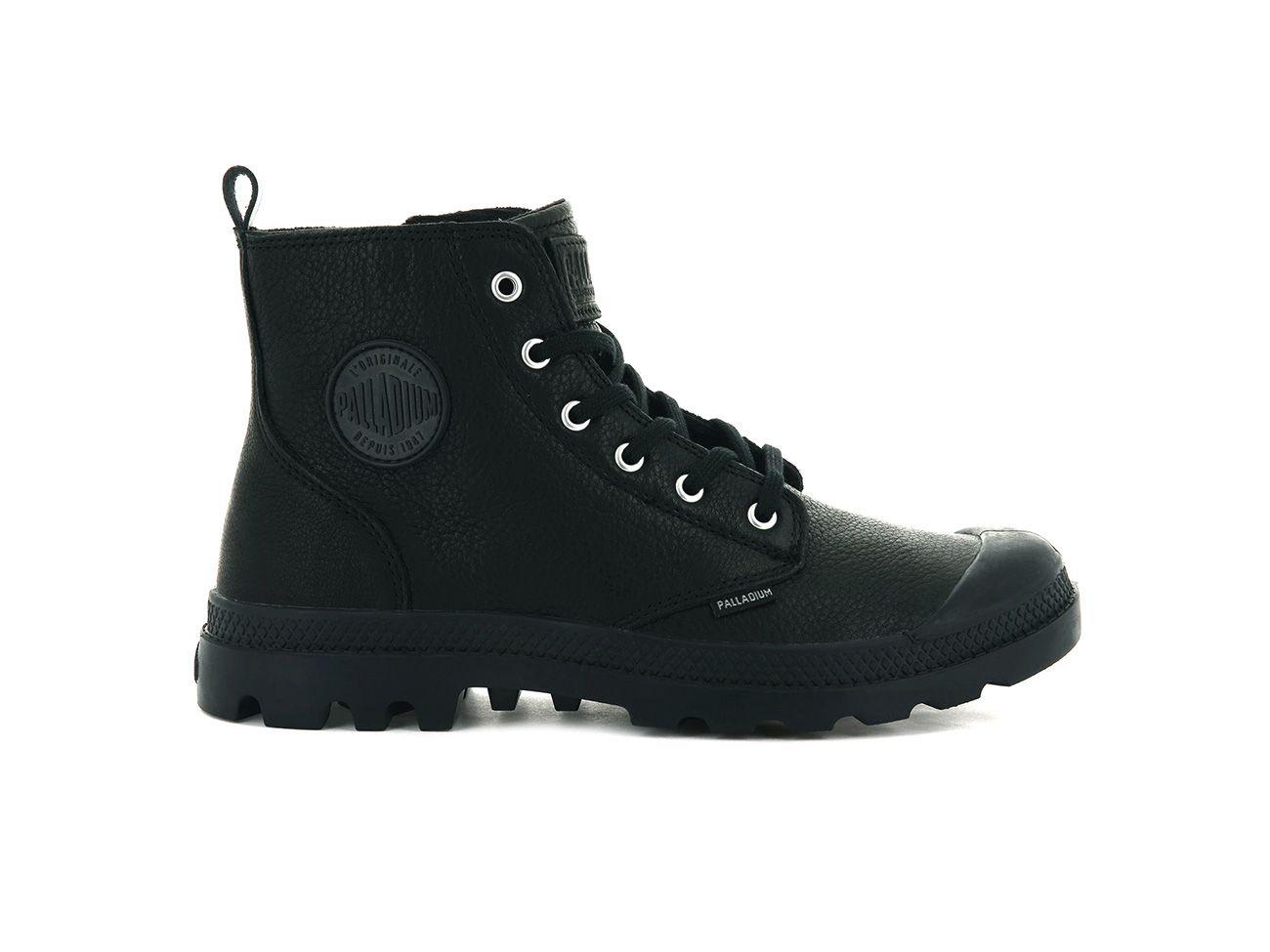 Palladium Pampa Hi Zip Leather in Black/Black