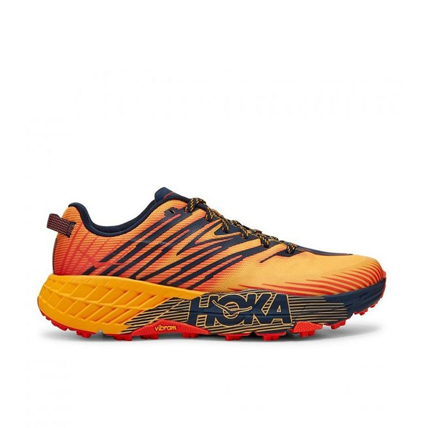 Hoka One One Men's Speedgoat 4 in Gold Fusion/Black Iris