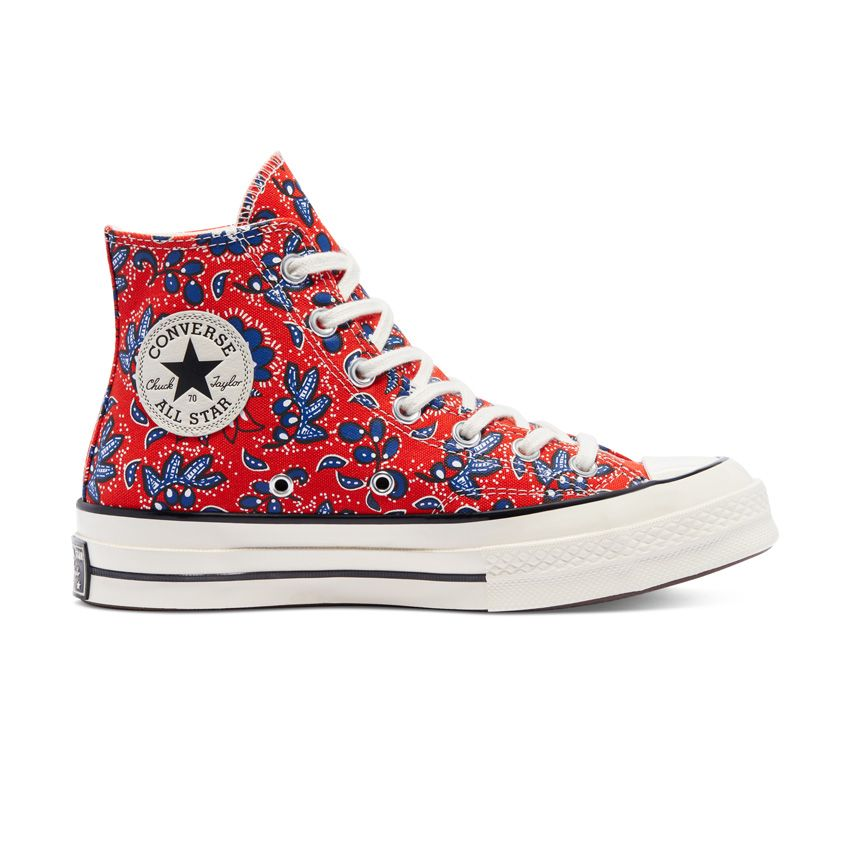 Converse Culture Prints Chuck 70 High Top in Habanero Red/Egret/Rush Blue