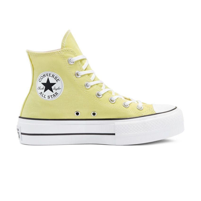 Converse Colour Platform Chuck Taylor All Star High Top in Light Zitron/White/Black