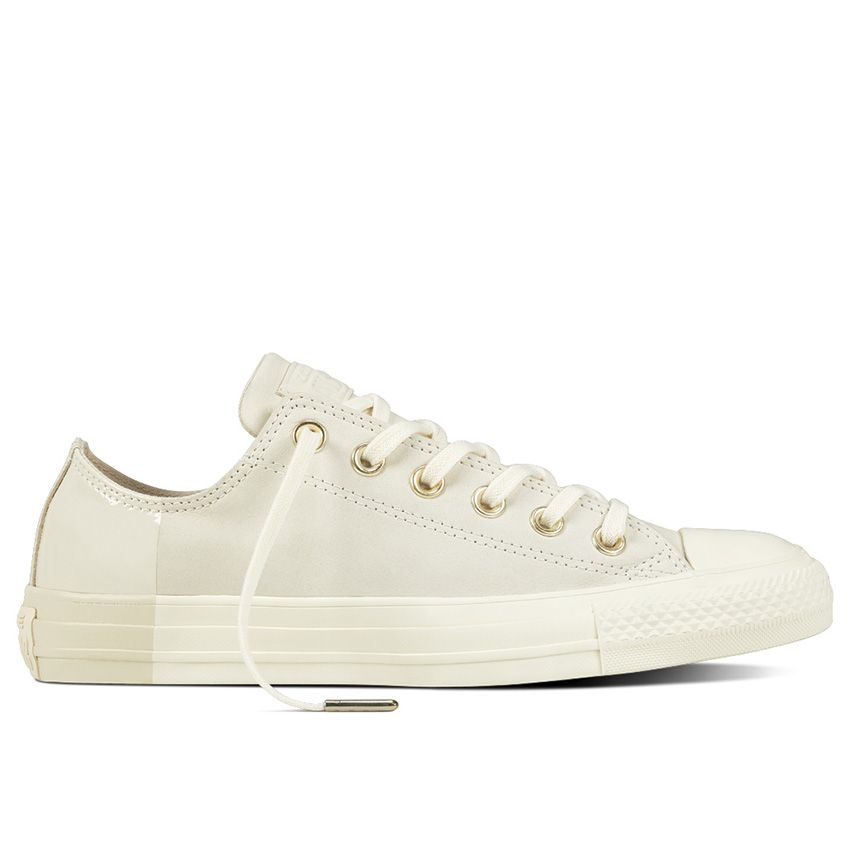 Converse Chuck Taylor All Star Blocked Nubuck Low Top in Egret/Egret/Driftwood