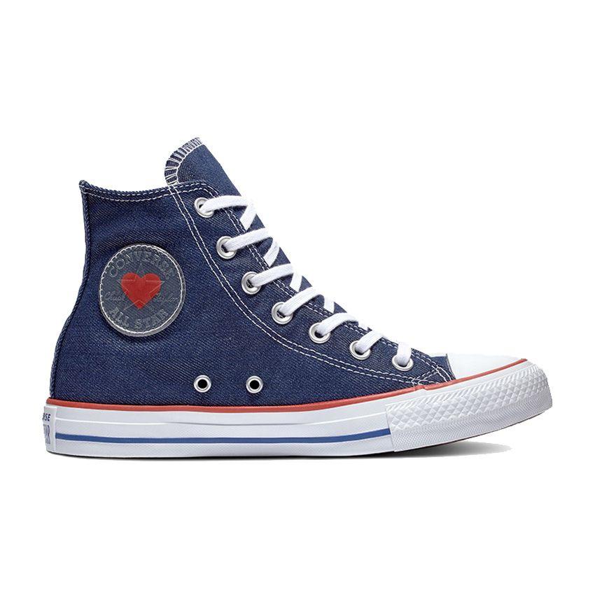 Chuck Taylor All Star amour en jean coupe haute en indigo/émail rouge/bleu