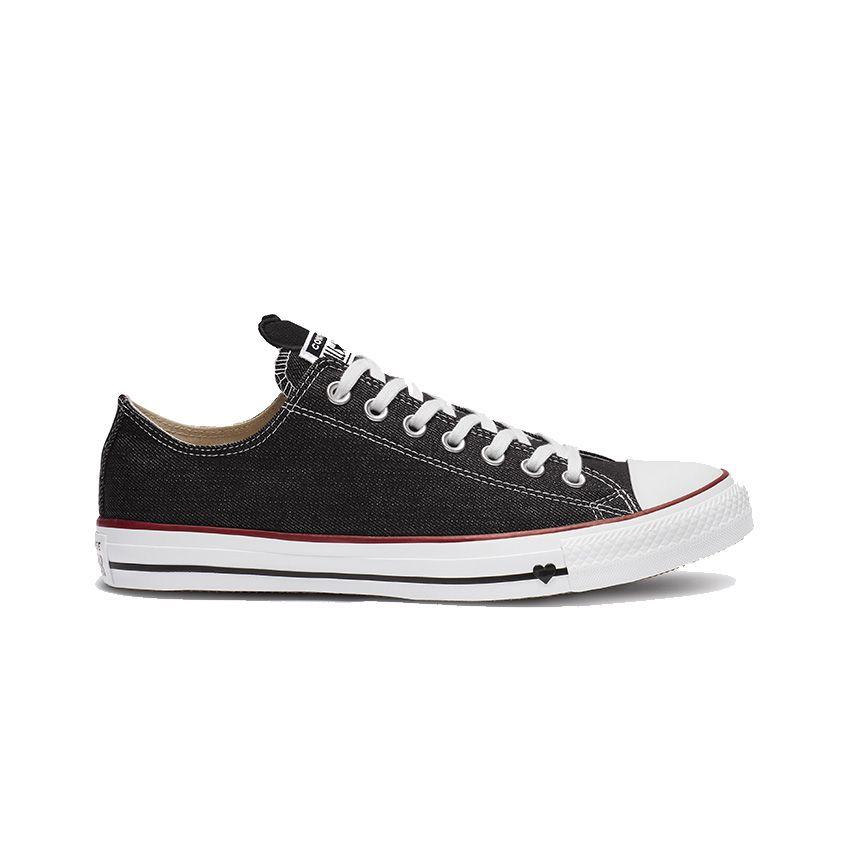 Converse Chuck Taylor All Star Denim Love Low Top in Black/White/Garnet