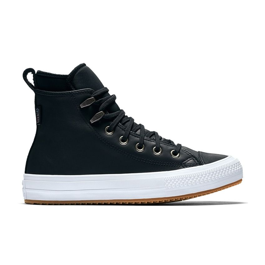 Converse Chuck Taylor All Star Waterproof Boot Leather High Top in Black/Black/White