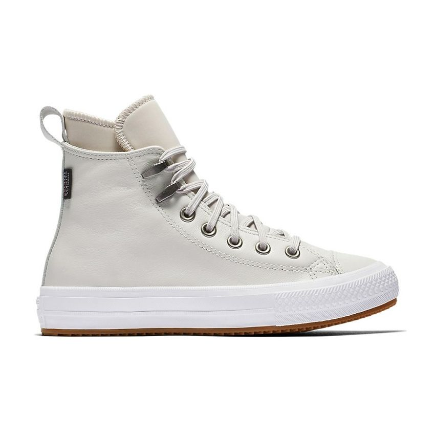 Converse Chuck Taylor All Star Waterproof Boot Leather High Top in Pale Putty/White/White
