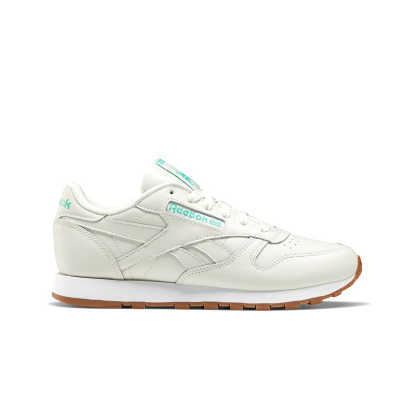 Reebok Women's Classic Leather in Chalk/Court Green/White