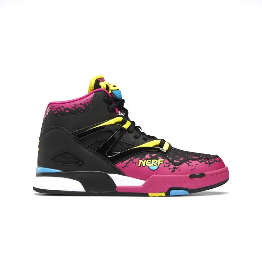 Reebok x NERF Pump Omni Zone II Men's Basketball Shoes in Black/Brilliant Pink/Bright Yellow